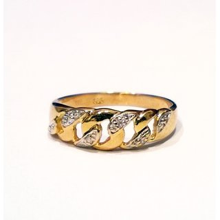 Kettenring Fingerring Kette mit Diamant 585 Gold Ringweite 54